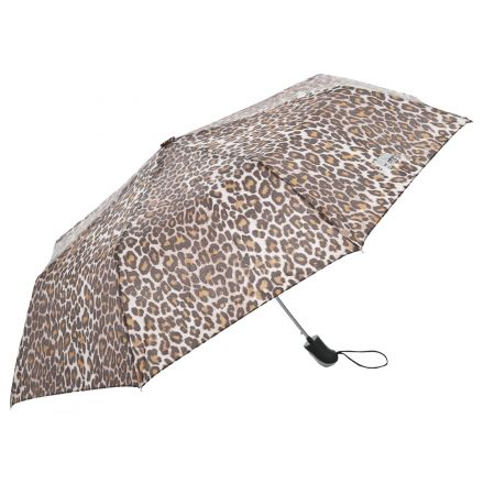 Printed Compact Umbrella in Brown