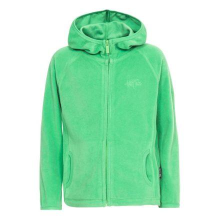 Melvin Kids' Full Zip Fleece Hoodie in Green, Front view on mannequin