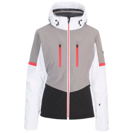 Trespass Womens Ski Jacket Slim Fit Mila in Grey, Front view on mannequin