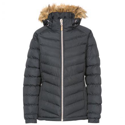 Nadina Women's Padded Hooded Casual Jacket in Black
