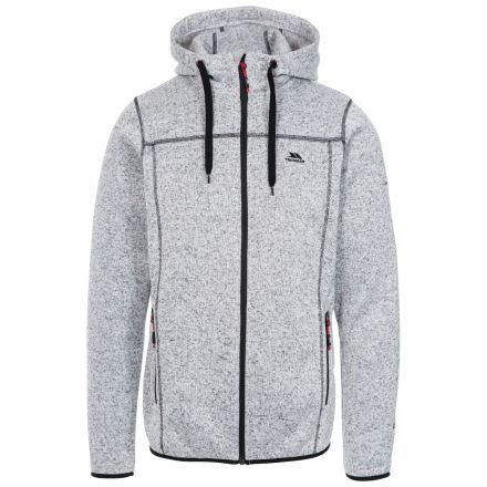 Odeno Men's Fleece Hoodie in White, Front view on mannequin