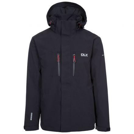 Oswalt Men's DLX Waterproof Jacket - BLK, Front view on mannequin