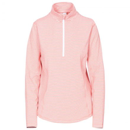 Overjoy Women's 1/2 Zip Long Sleeve Active Top in Peach