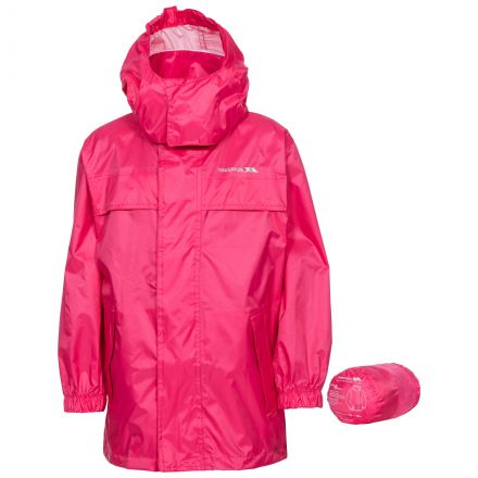Packa Kids' Waterproof Packaway Jacket in Peach, Front view on mannequin