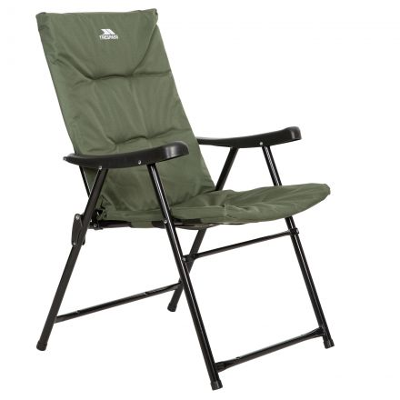Trespass Folding Padded Camping & Garden Deck Chair Paddy in Olive, Angled view of chair