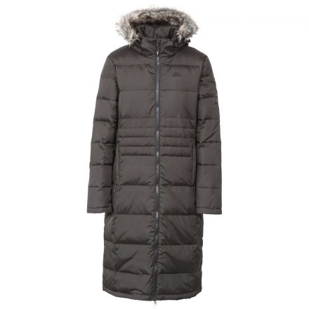 Trespass Womens Down Parka Jacket Long Phyllis in Black, Front view on mannequin
