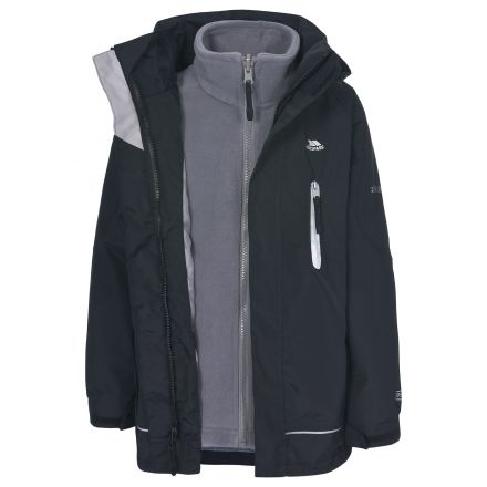 Prime Kids' 3-in-1 Waterproof Jacket with Fleece in Black