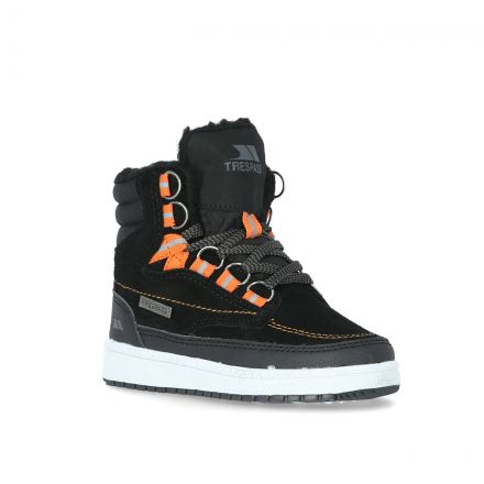 Raffiki Kids' Suede Hi Top Trainers in Black