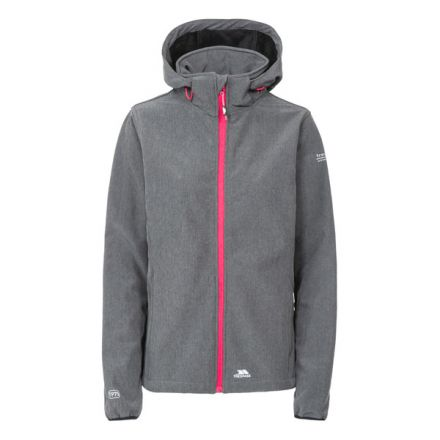 Ramona Women's Softshell Jacket in Grey, Front view on mannequin