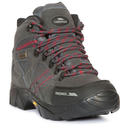 Ridgeway Women's Vibram Waterproof Walking Boots in Grey, Angled view of footwear