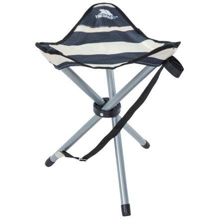 RITCHIE Folding Tridpod Stool in Navy Stripe with Carrying Bag