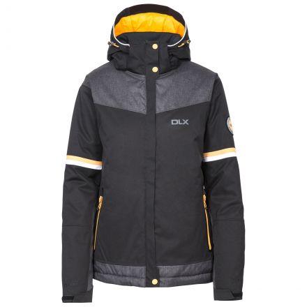 Rosan Women's DLX Waterproof Ski Jacket in Black, Front view on mannequin
