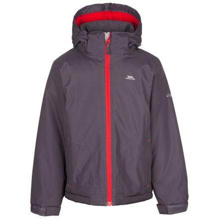 Rudi Boys' Waterproof Jacket Grey, Front view on mannequin