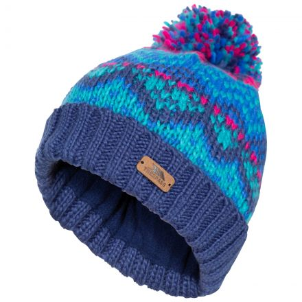 Sprouse Kids' Patterned Bobble Hat in Navy, Hat at angled view