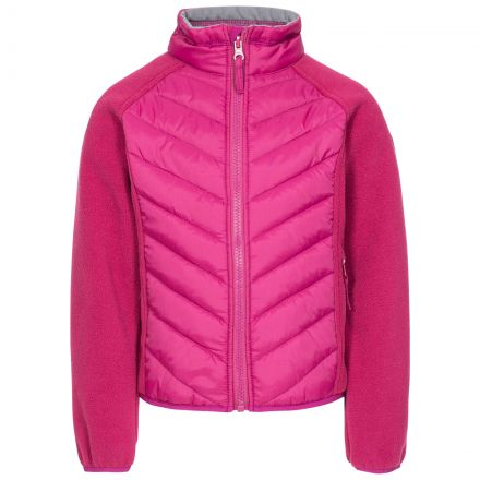 Surprising Kids' Padded Fleece Jacket in Red, Front view on mannequin