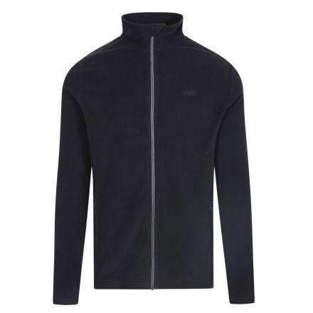 Tadwick Men's Fleece Jacket in Black, Front view on mannequin