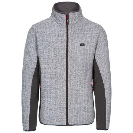 Templetonpeck Men's Fleece Jacket in Grey, Front view on mannequin