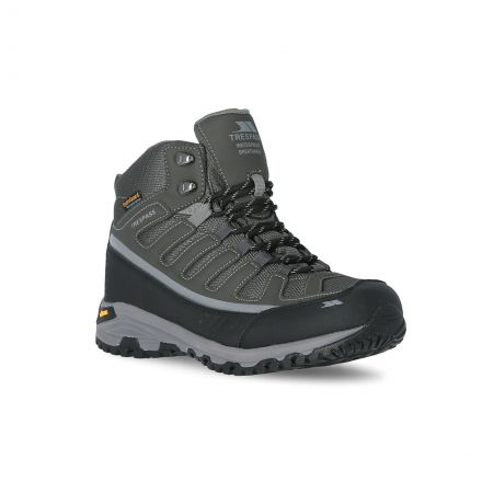 Tennant Men's Vibram Walking Boots in Grey, Angled view of footwear