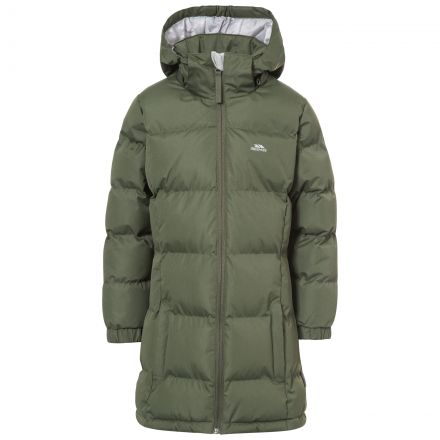 Tiffy Girls' Padded Casual Jacket in Khaki, Front view on mannequin