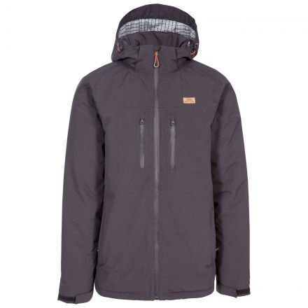 Toffit Men's Hooded Waterproof Jacket in Grey, Front view on mannequin