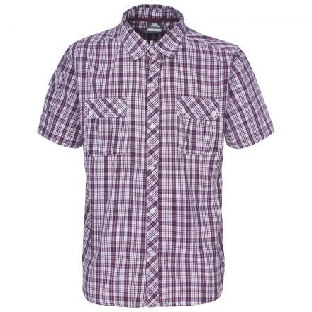 Tolpis Men's Short Sleeve Checked Shirt in Burgundy