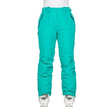 Tullow Women's Padded Waterproof Ski Trousers in Green, Alternate front view on model