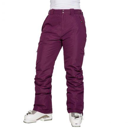 Tullow Women's Padded Waterproof Ski Trousers in Purple, Waist detail on model