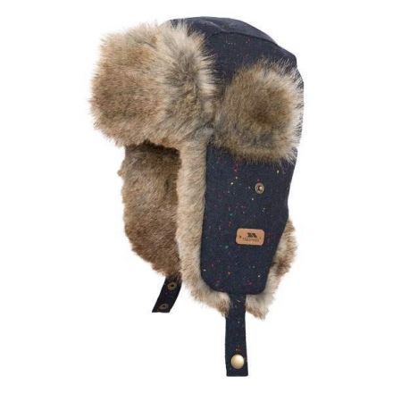 Zazu Kids' Faux Fur Lined Trapper Hat  in Navy, Hat at angled view