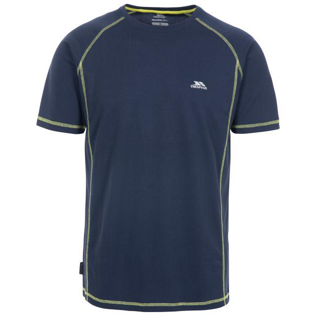 Albert Men's Quick Dry Active T-Shirt in Navy, Front view on mannequin