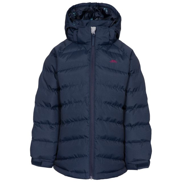 Amira Kids' Padded Casual Jacket in Navy, Front view on mannequin