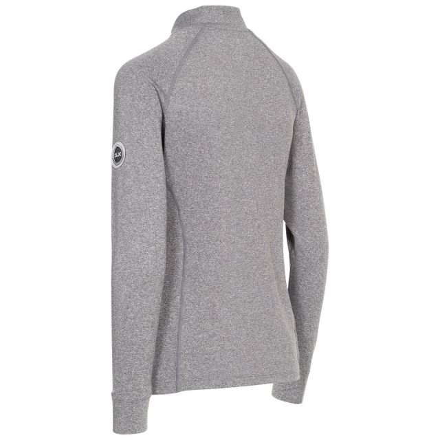 Briana Women's DLX Eco-Friendly Half Zip Active Top in Grey Marl