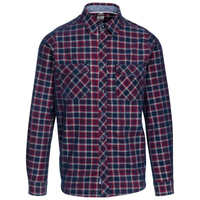 Trespass Mens Checked Shirt Cotton Corduroy Byworthytown Navy