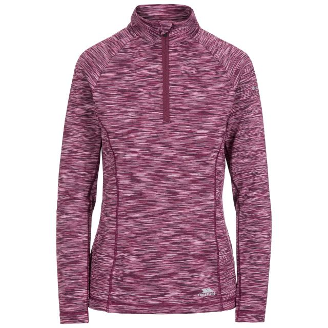 Edith Women's Long Sleeve Active Top in Purple, Front view on mannequin