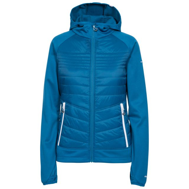 Trespass Womens Hybrid Fleece Hooded Full Zip Finito in Blue