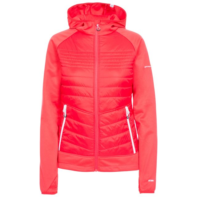 Trespass Womens Hybrid Fleece Hooded Full Zip Finito in Red
