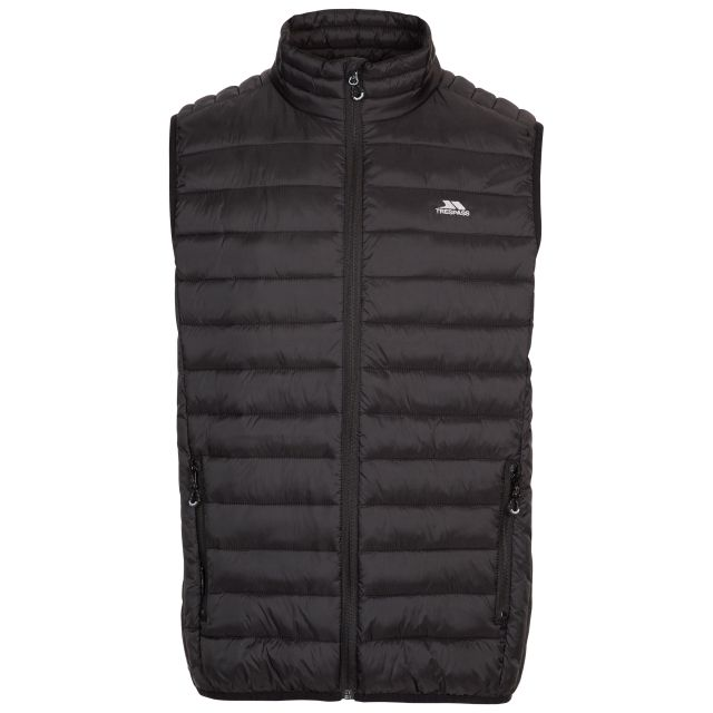 Trespass Mens Gilet Padded Packaway 2 Zip Pockets Gallenton Black