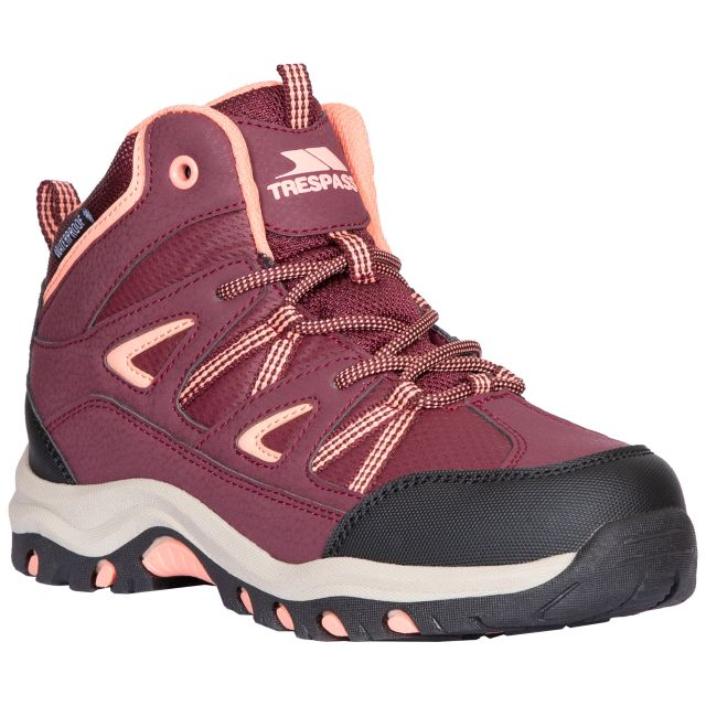 Trespass Kids Walking Boots Waterproof Mid Cut Gillon II Red