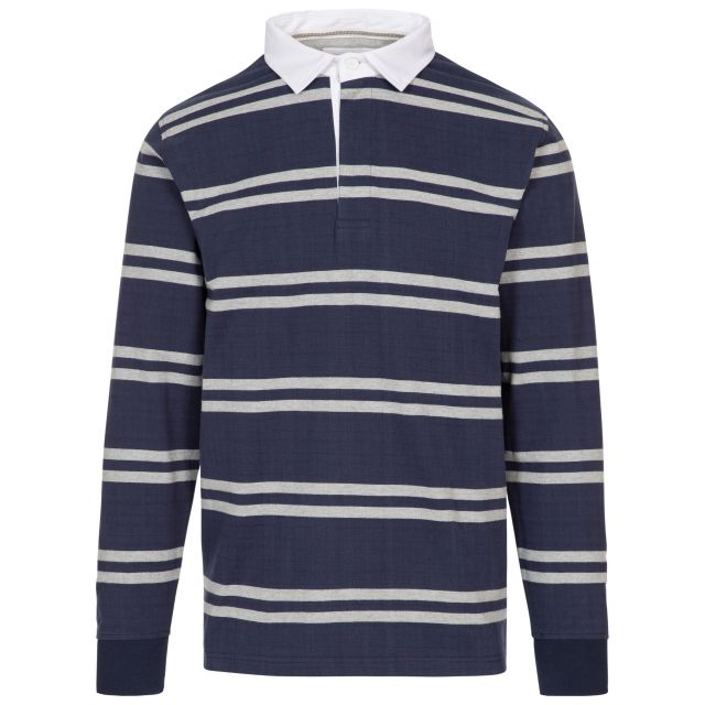 Keelbeg Men's Long Sleeve Cotton Top in Navy Stripe