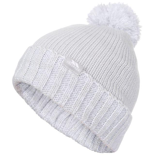 Trespass Kids Bobble Hat Knitted Fleece Lined Nefti Grey