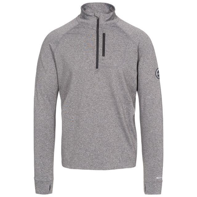 Nicholas Men's DLX Eco-Friendly Half Zip Active Top in Grey, Front view on mannequin