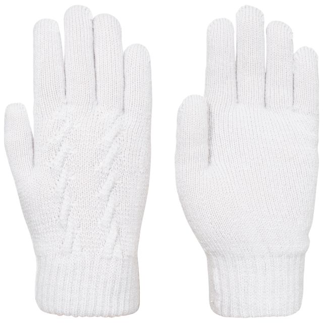 Trespass Womens Knitted Gloves Rib Cuff White Ottile in Grey