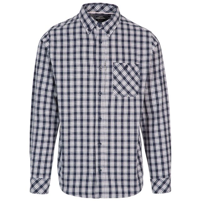 Trespass Men's Checked Shirt Concealed Zip Pocket Panncross Navy