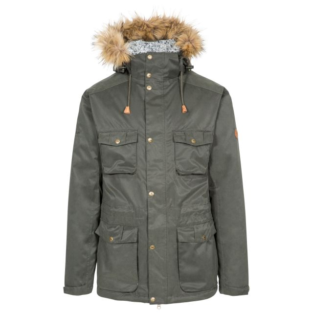 Quebeckford Men's Padded Waterproof Parka Jacket in Olive