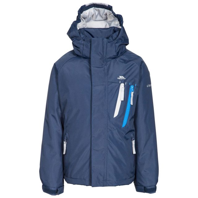 Specific Kids' Padded Waterproof Jacket in Navy, Front view on mannequin