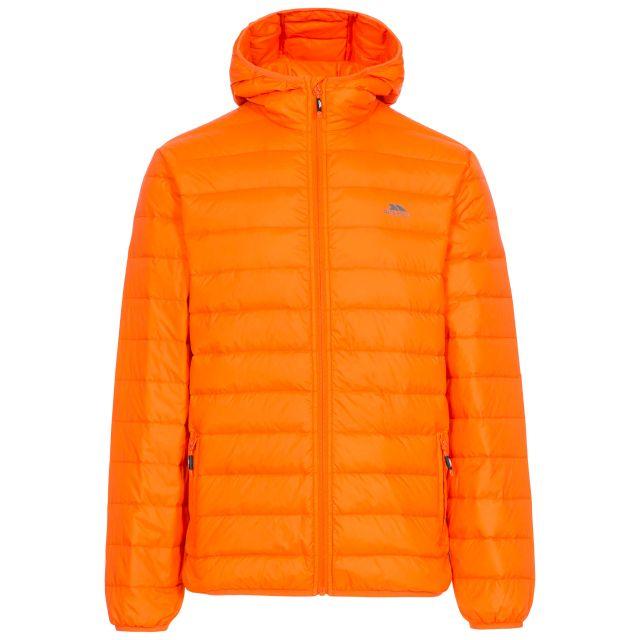 Stanley Men's Ultra Lightweight Packaway Down Jacket in Orange, Front view on mannequin