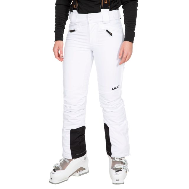 Sylvia Women's DLX Slim Fit Waterproof Salopettes in White, Front view on model