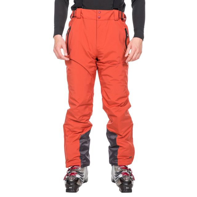 Trespass Mens Salopettes Lightly Padded Slim Fit Trevor Red, Front view on model