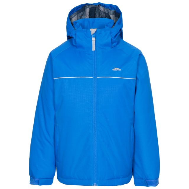 Trespass Kids Waterproof Jacket Padded Lined Hood Upright Blue