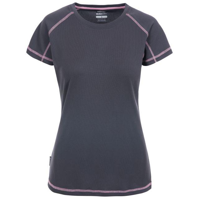 Viktoria Women's Active T-Shirt in Grey, Front view on mannequin