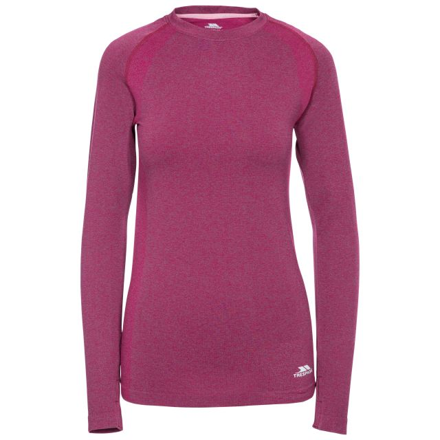 Welina Women's Long Sleeve Active T-Shirt in Purple, Front view on mannequin